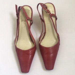 Lauren Ralph Lauren Red Leather Slingback Heels